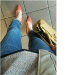 カラーパンプスのコーデ ピンク 今日の靴