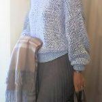 楽天で買ったロングプリーツスカートのコーデ